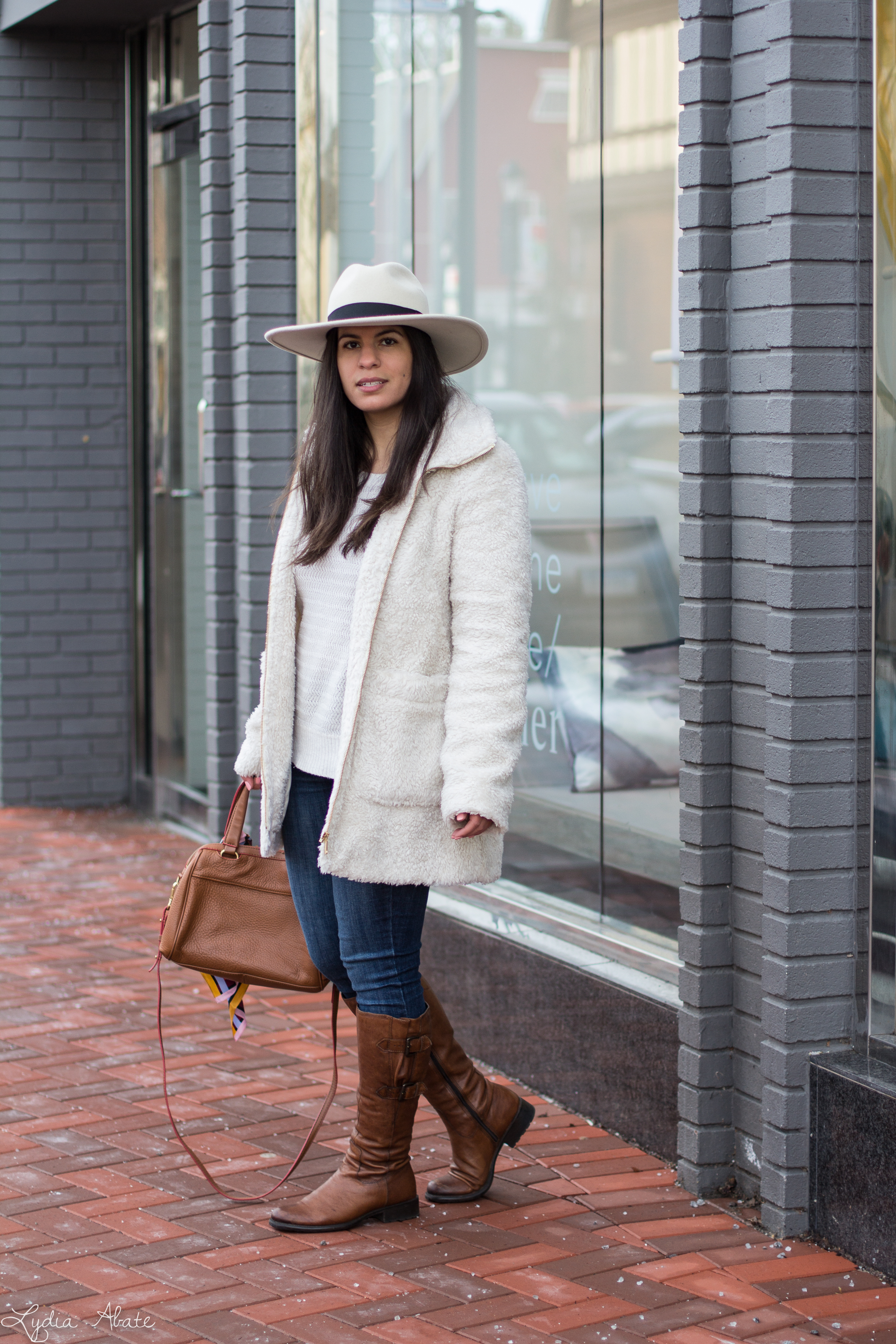Teddy coat, white sweater, brown leather boots, wool fedora-16.jpg