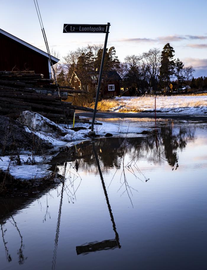 heijastus huhtikuu vesilammikko tulva