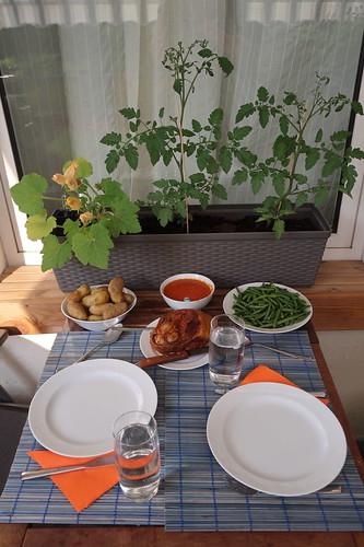 In Tomatensoße gegarte Lammkeule mit neuen Kartoffeln und grünen Bohnen (Tischbild auf Balkon)