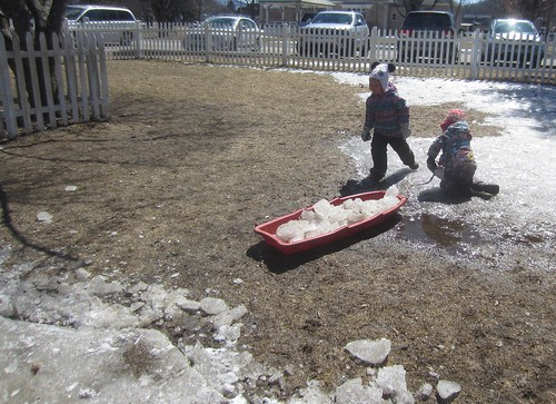 a sled full of ice