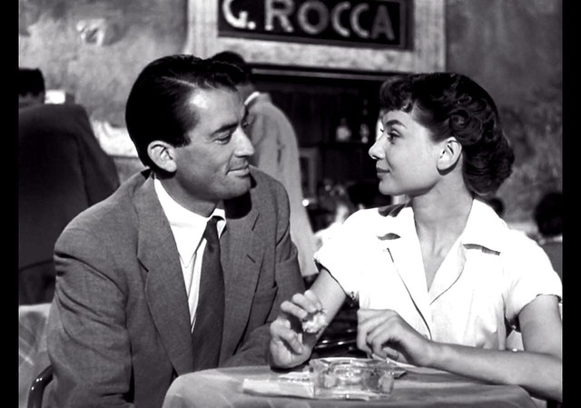 Gregory Peck, Audrey Hepburn, at Cafe Rocca, Roman Holiday, 1953