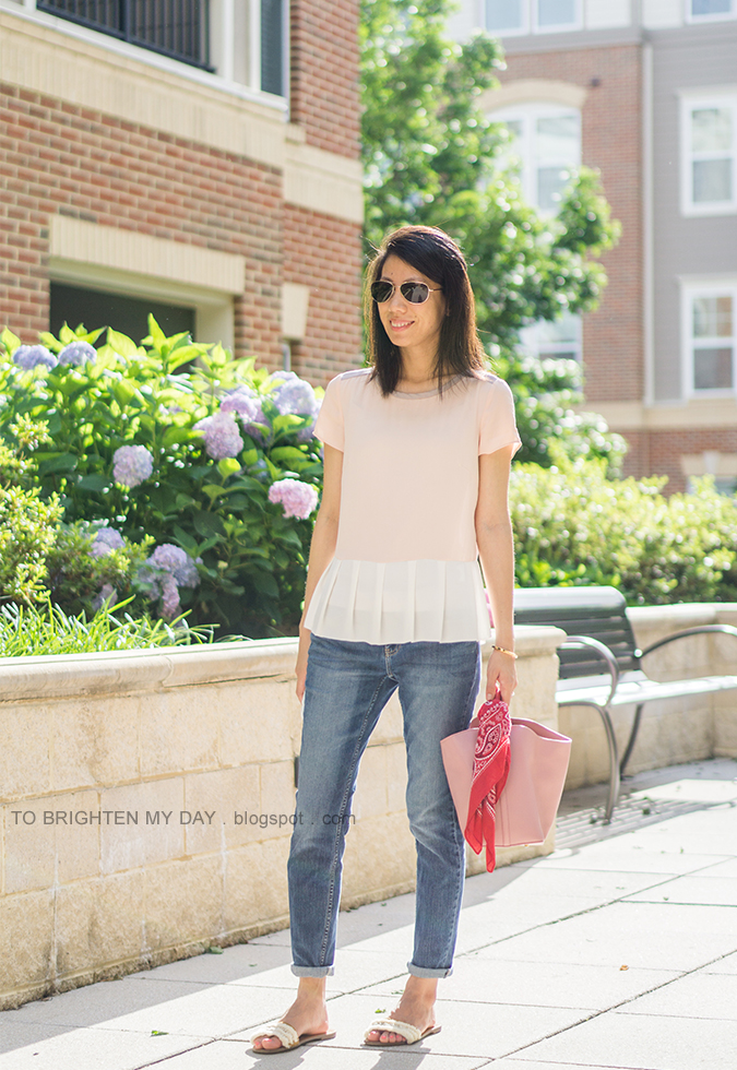 colorblocked peplum top, girlfriend jeans, white fringe sandals, pink tote with red bandana