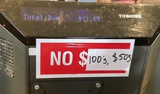 No $100s, $50s