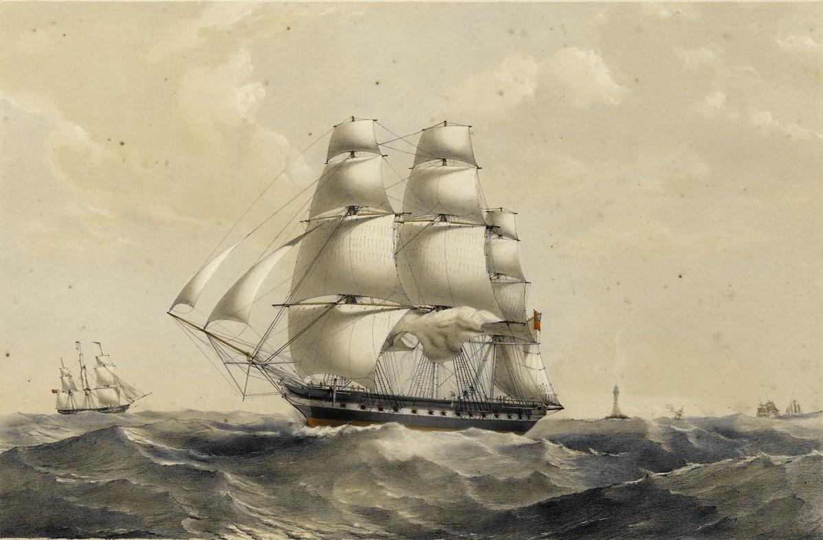 East Indiamen Madagascar, 1000 tons, 1837 build. National Maritime Museum, Greenwich.