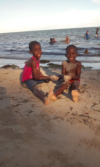 Betty and Nuru preffered playing with the beach sand