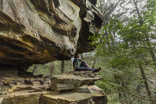 Shauna Wilson, sandstone outcrop, Chimneys SNA, Marion County, Tennessee