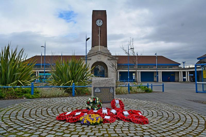 Wreaths at memorial