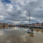 sailing into Preston Marina