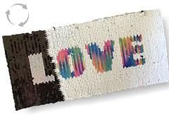 Wechsel Pailletten Patch LOVE, rainbow-s/w, XL Farbwechsel Applikation ca.11x23cm