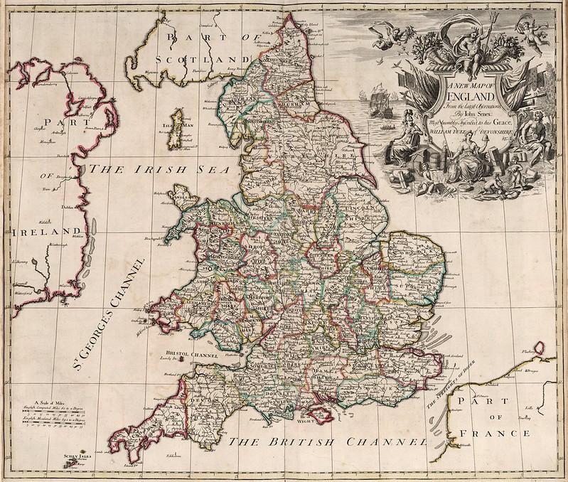John Senex - New Map of England (1721)