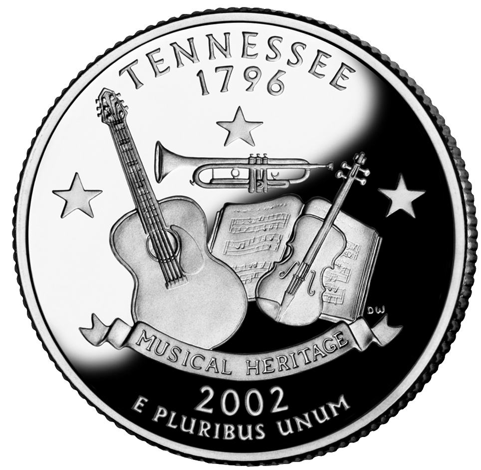 "The Tennessee State Quarter was engraved by Donna Weaver. The design portrays a fiddle, trumpet, guitar, musical score, three stars Banner with text ""Musical Heritage"". There were 648,068,000 minted with the official release date occurring on January 1, 2002."