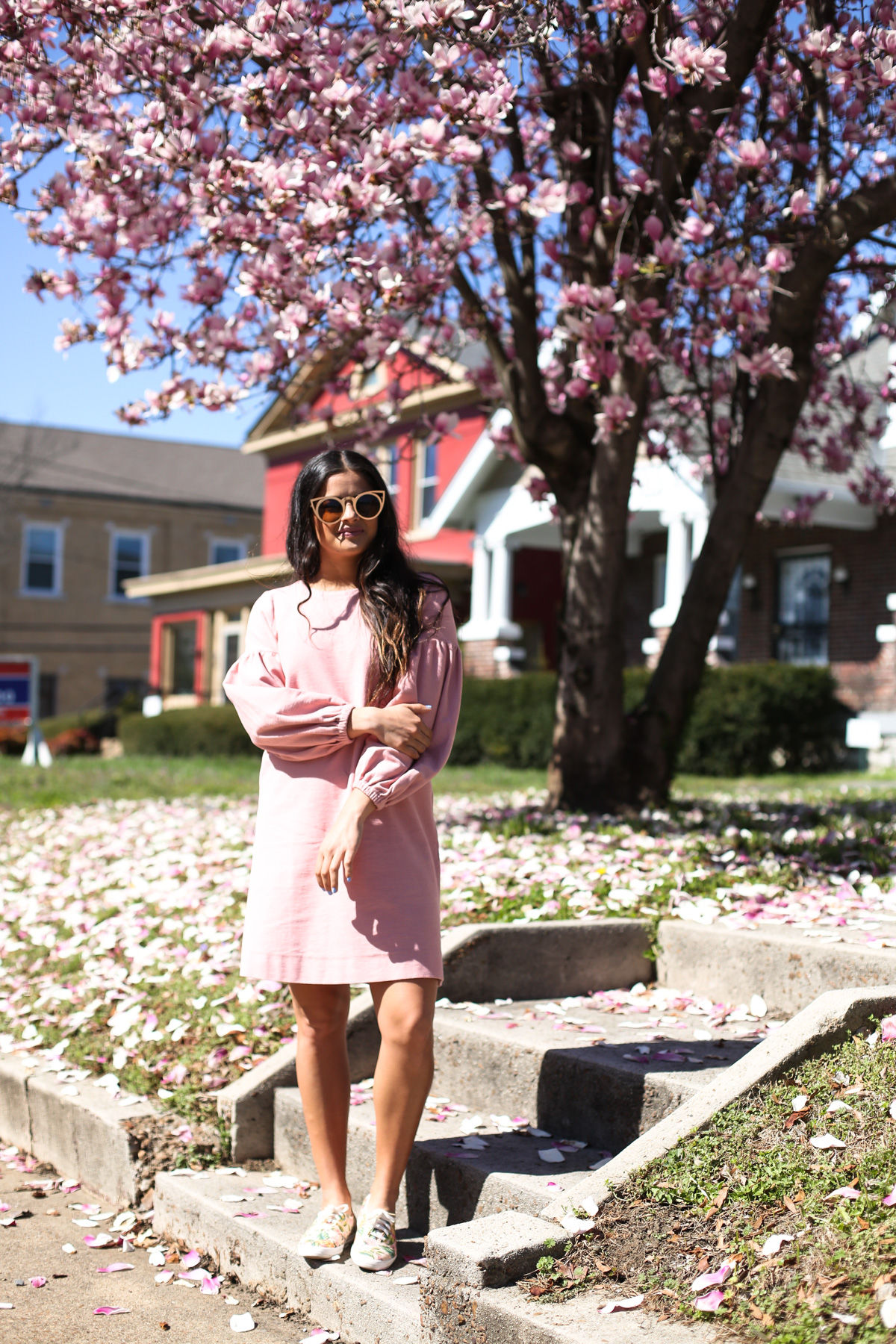 Priya the Blog, Nashville fashion blog, Nashville fashion blogger, Nashville style blog, Nashville style blogger, gold cat eye ban.do sunnies, LOFT pink sweatshirt dress, Rifle Paper Co. x Keds, floral keds, how to wear floral tennis shoes, Spring outfit, Spring outfit with floral Keds, pink sweatshirt dress, Rifle Paper Co., ColourPop Ultra Glossy Gloss in Aquarius