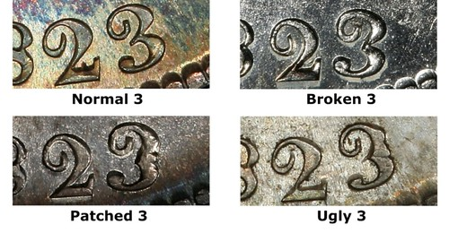 1823 Patched 3 Half Dollar date details