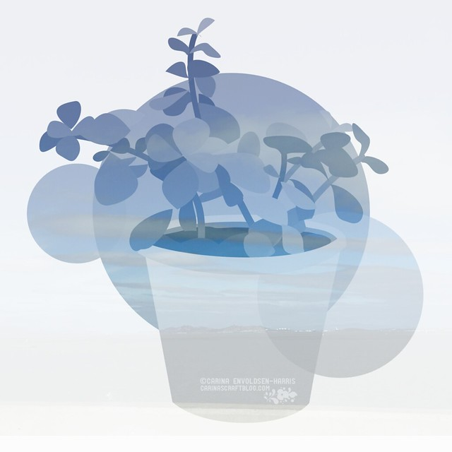 Succulent double exposure illustration