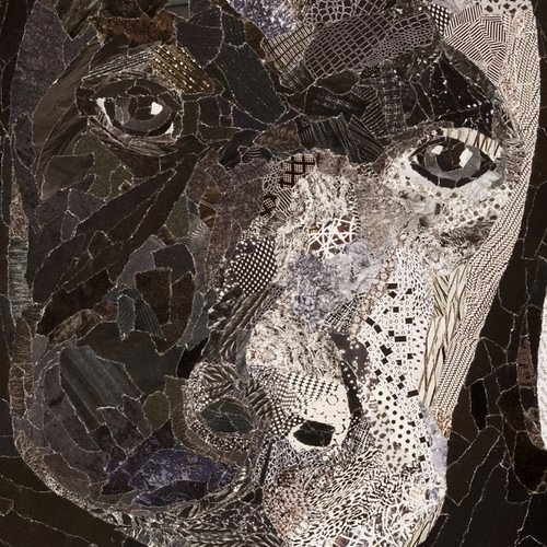 torn paper collage - Buddy, detail, by Laura Shabazz