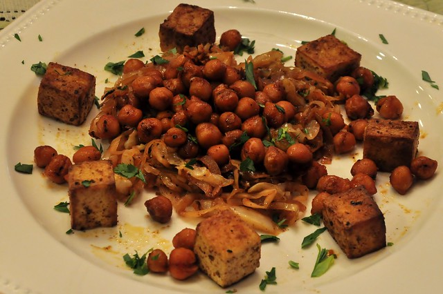 Tofu Ras el hanout, Braised Cabbage and Fried Chickpeas