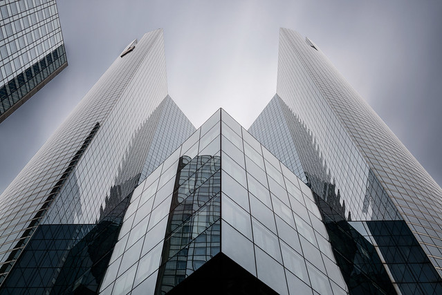 Architectural symmetry blue