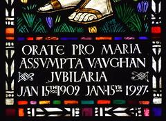 Orate pro Maria Assumpta Vaughan jubilaria (Margaret Agnes Rope for East Bergholt Convent, Suffolk, 1928)