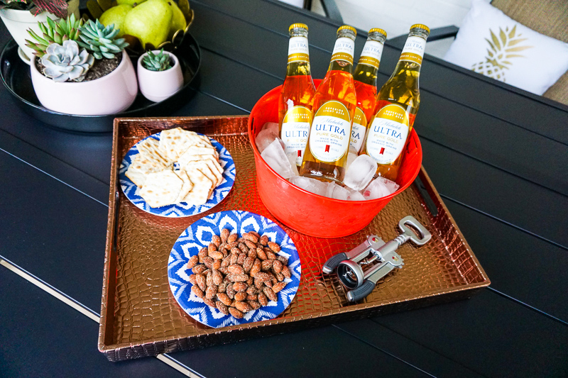 Michelob-ultra-pure-gold-beer-tray-of-snacks