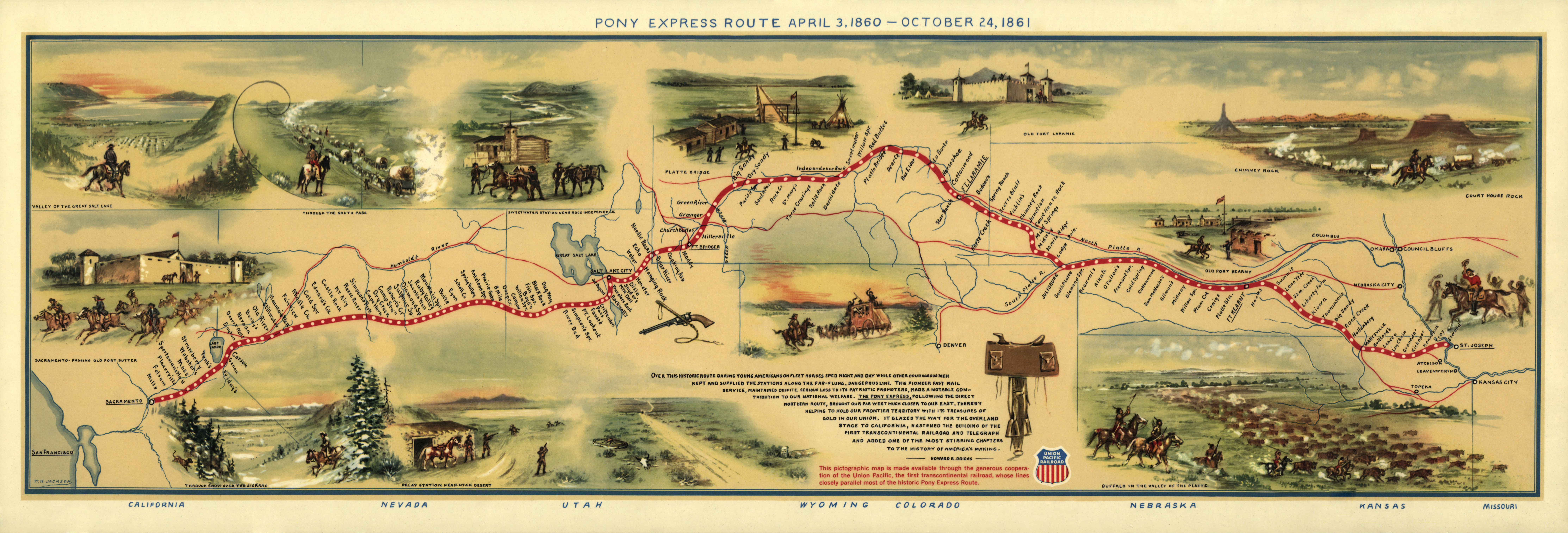Pony Express route map by William Henry Jackson, likely from The Pony Express Goes Through (1935). This reproduction was issued by the Union Pacific Railroad Company to commemorate the 100th anniversary of the Pony Express on April 3, 1960.