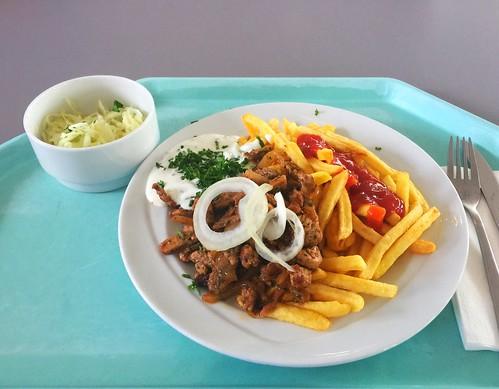 Pork gyros with fresh onions, tzatziki & french fries / Gyros vom Schwein mit frischen Zwiebeln, Tzatziki & Pommes Frites