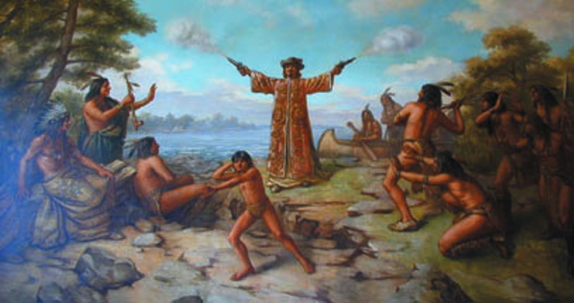 Jean Nicolet, landing at the Bay of Green Bay in 1634. Painted by Franz Edward Rohrbeck (1852-1919) in 1910 into the mural in the rotunda of the Brown County Courthouse, Green Bay, Wisconsin. It shows Nicolet wearing a Chinese damask tunic strewn with flowers and birds, and discharging two pistols into the air.