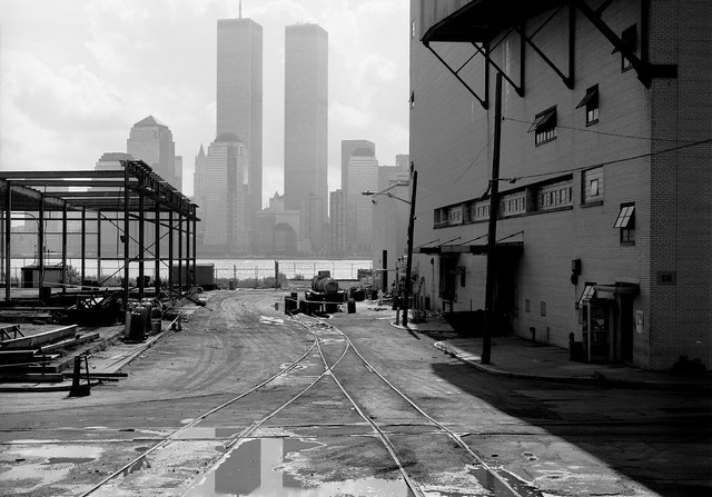 11 years after taking my favorite World Trade Center photo, the scene had changed a bit. The old Colgate Plant was being demolished. Across the Hudson, the new Battery Park City partially obscured the Twin Towers. Jersey City.  March 1986.