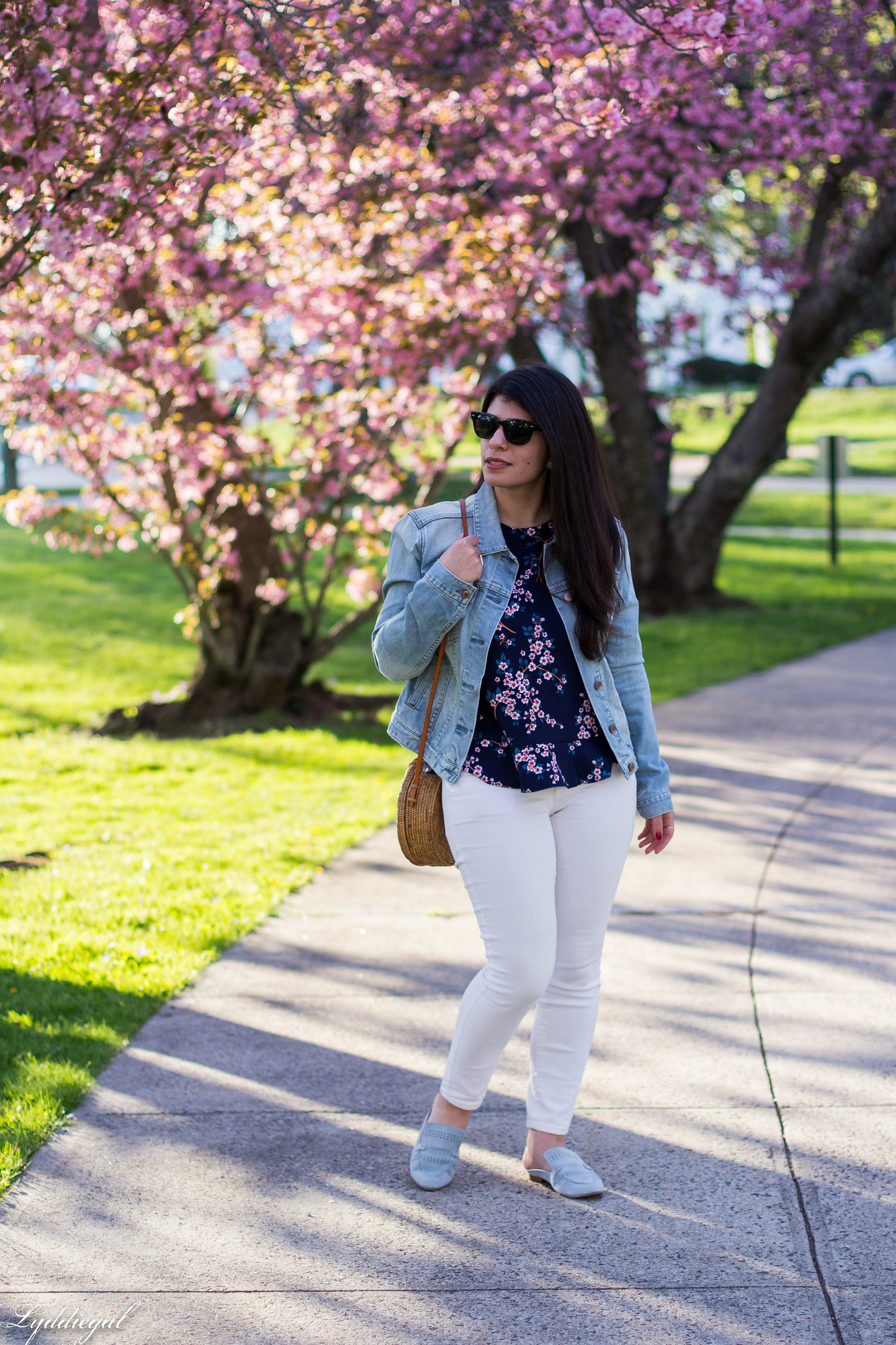 denim jacket, cherry blossom print blouse, white jeans, blue loafers-2.jpg