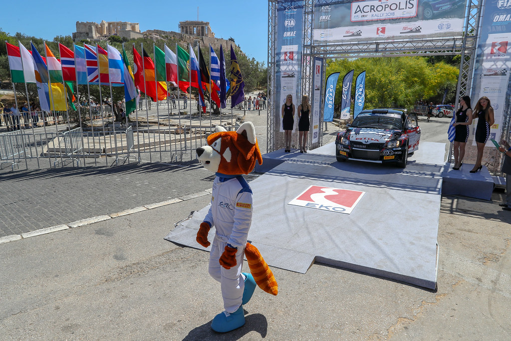 28 PROTASOV Yurii (ukr), CHEREPIN Pavlo (ukr), Skoda Fabia R5, podium ambiance during the European Rally Championship 2018 - Acropolis Rally Of Grece, June 1 to 3 at Lamia - Photo Alexandre Guillaumot / DPPI