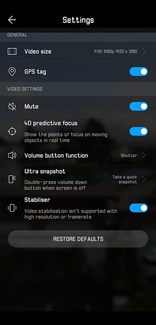 EMUI 8.1 - Video Settings - Full HD Stabilizer On