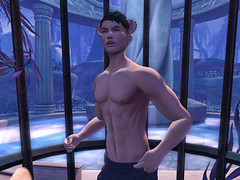 Patch Linden caged and dancing with his shirt off at Fantasy Faire