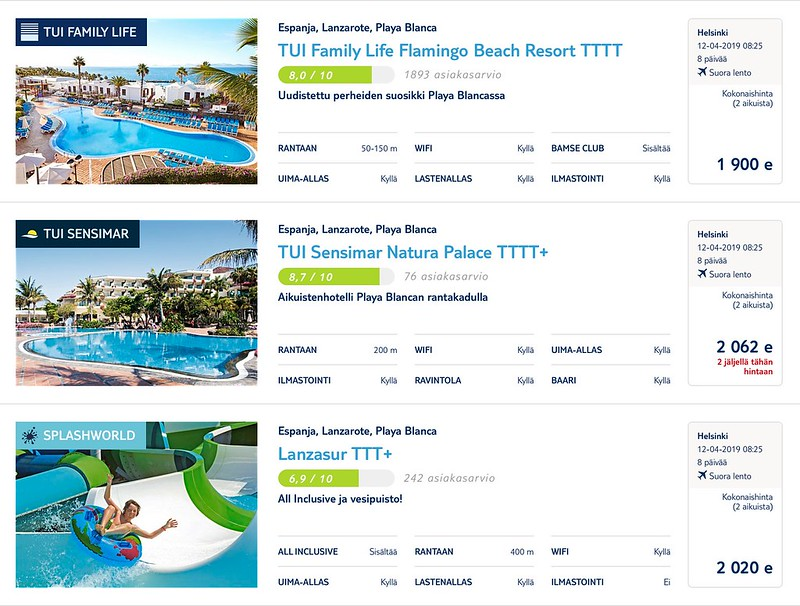 Hintavertailu Lanzarote omatoimisesti vs. TUI