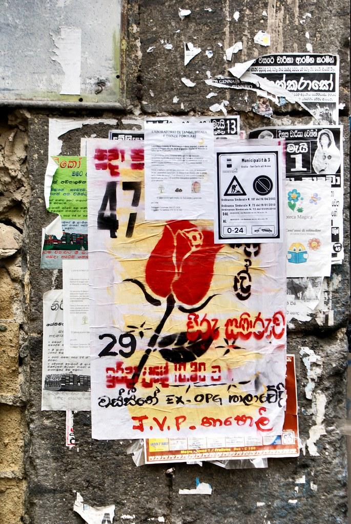 Affiche en tamoul, la plus grande communauté étrangère à Naples.
