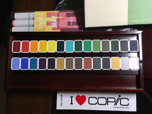 #copicsketch #copicmarkers triad for #May and #Holbein #cake color for Sumi painting from #JetPens