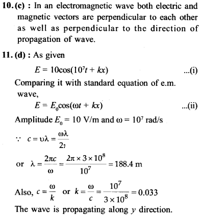 NEET AIPMT Physics Chapter Wise Solutions - Electromagnetic Waves explanation 10,11