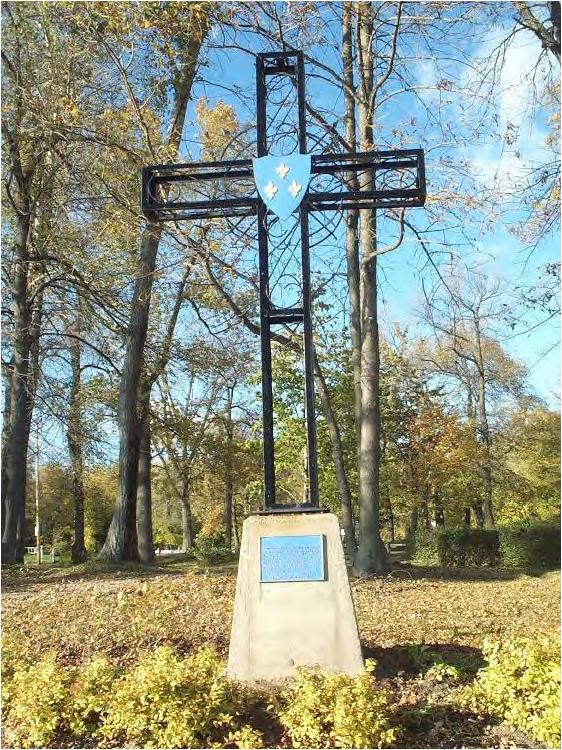 Jacques Cartier commemorative cross on St-Quentin Island in Trois-Rivières. Saint-Quentin Island lies at the confluence of the Saint-Maurice River and St. Lawrence River in the city of Trois-Rivières, in province of Quebec, Canada. Photo taken on August 24, 2008.