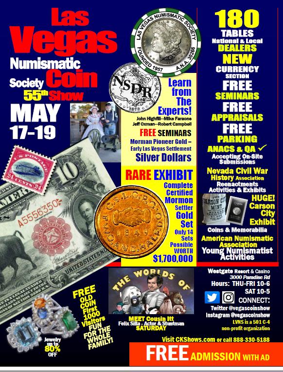 Las Vegas Coin Show E-Sylum ad 2018-05-13