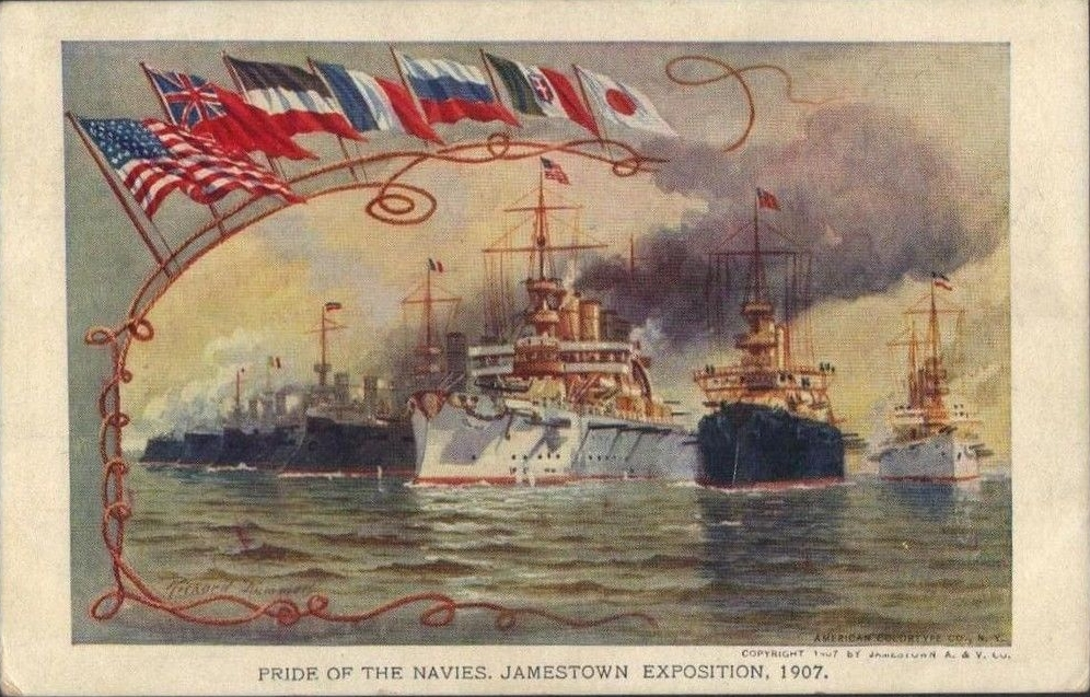 Postcard portraying the International Naval Review of the 1907 Jamestown Exposition.