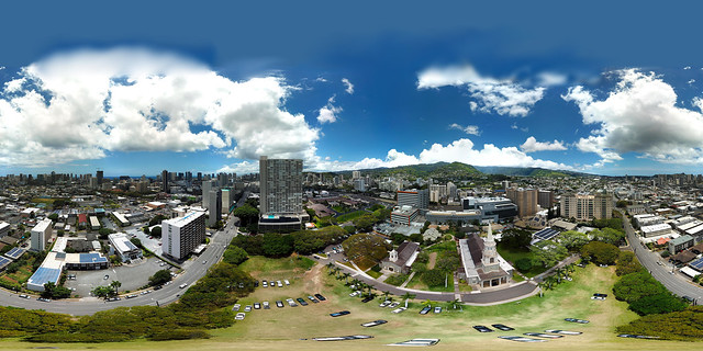 238 feet above the Central Union Church in Honolulu - an aerial 360° Equirectangular VR