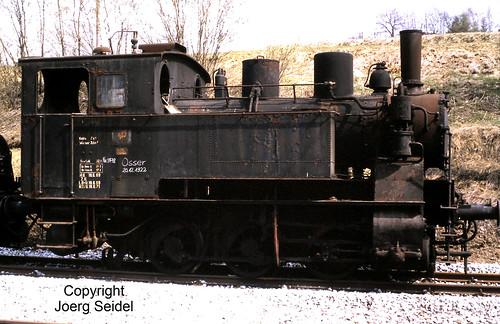 DE-94239 Gotteszell Bahnhof Regentalbahn Dampflok Osser II (Maffei 5478/1922) im Mai 1982