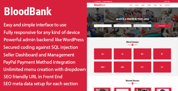 BloodBank – Blood Donor Directory CMS with PayPal Integration