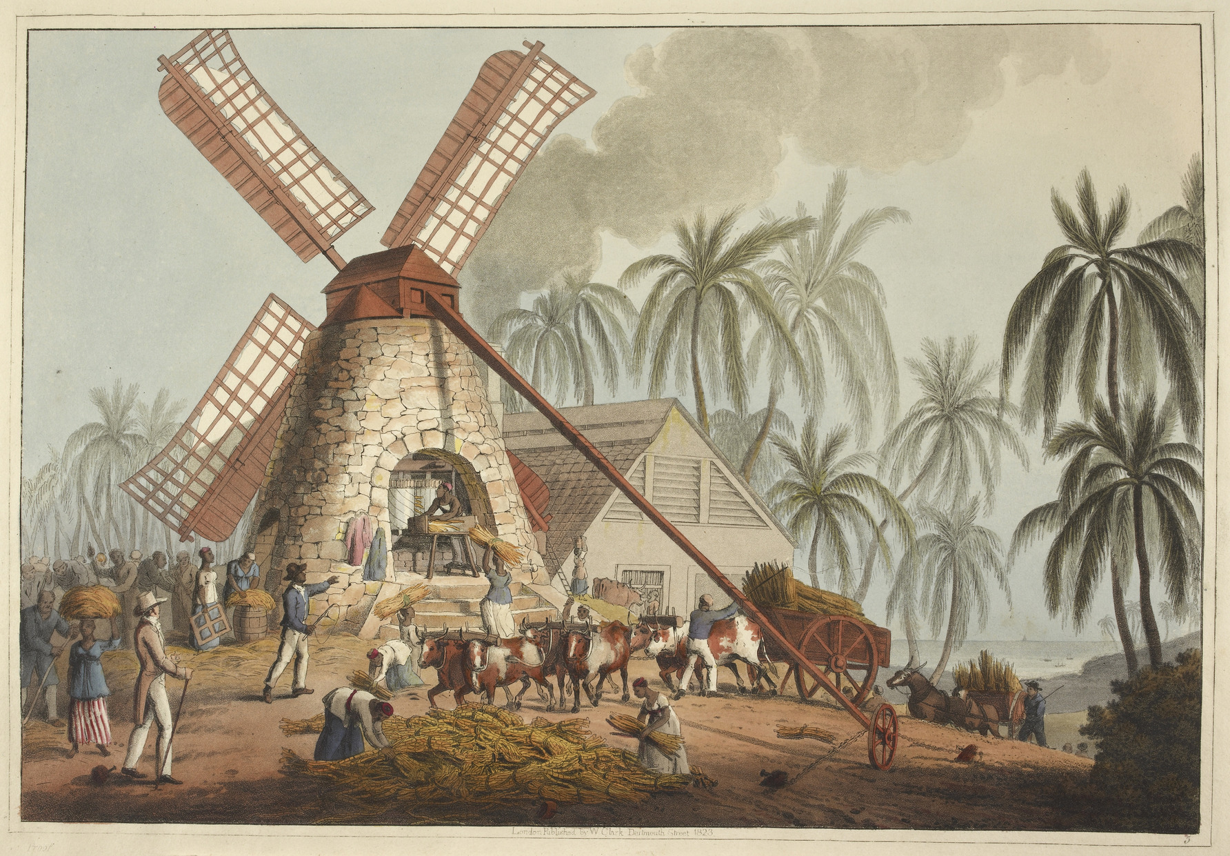 Grinding sugar cane in a windmill on a sugar plantation in the British colony of Antigua. Originally published/produced in London by Thomas Clay, 1823.