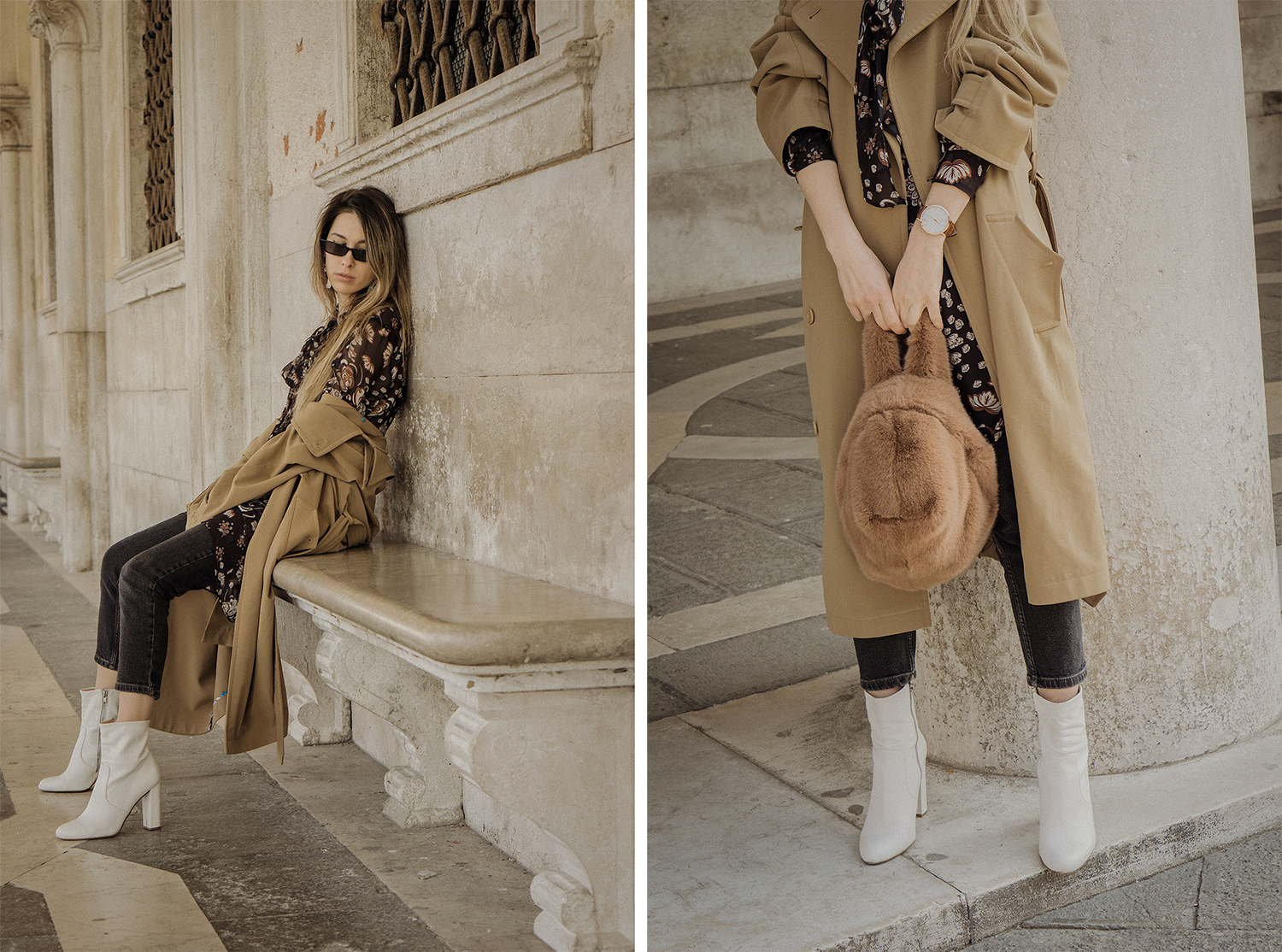 trench_coat_white_boots_dress_with_jeans_venice_italy_fur_bag_fashion_lenajuice_thewhiteocean_09
