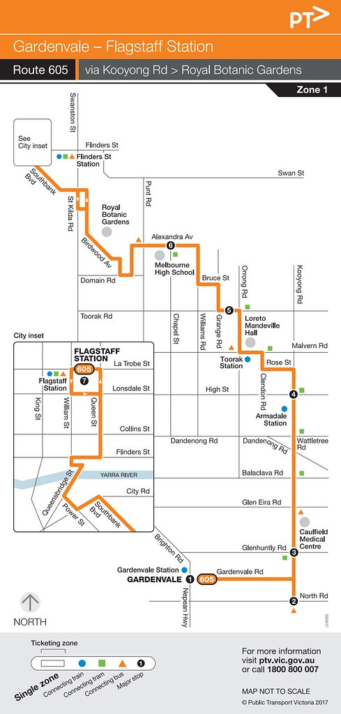 Bus 605 route map from 2017