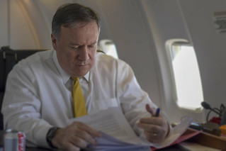 Secretary Pompeo Reads Aboard His Plan on His First Trip