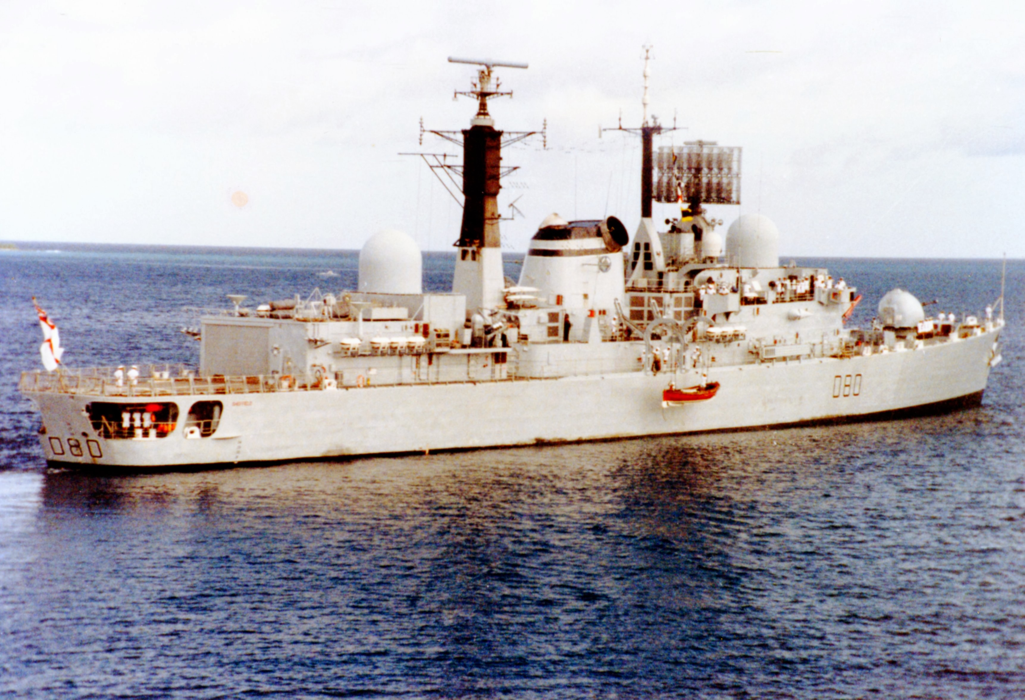 HMS Sheffield (D80) at Diego Garcia. February 1982