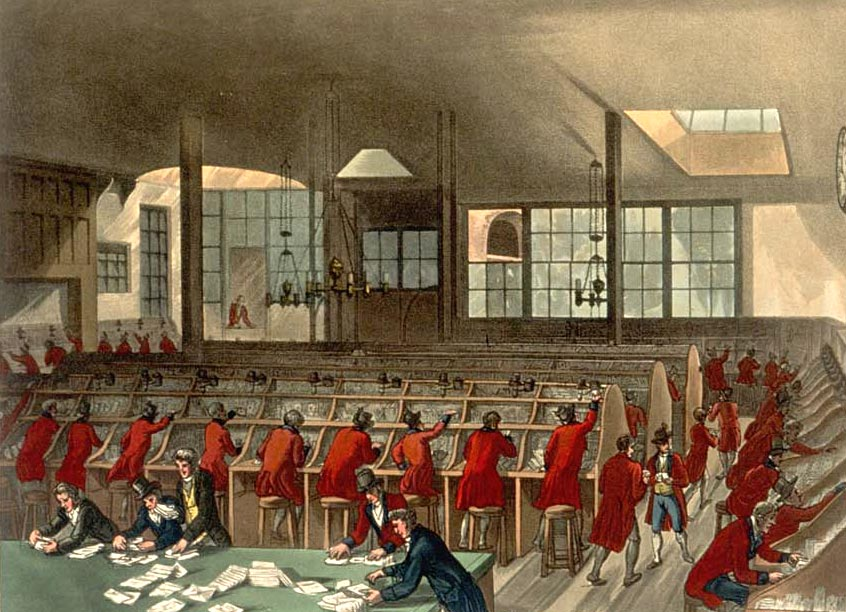 Clerks at work in The Post Office London, as drawn by Augustus Pugin Senior and Thomas Rowlandson for Ackermans Microcosm of London (1808-11).