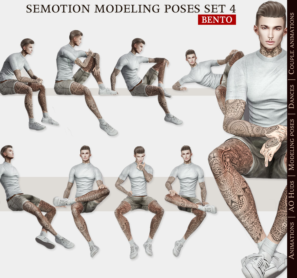 SEmotion Male Bento Modeling poses Set 4 - 10 static poses - TeleportHub.com Live!