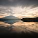 Mt. Fuji Reflected in Lake Yamanaka at Sunset
