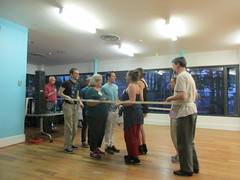 (Triangle Squares) Barry puttin' the newest Mainstream dancers through their paces, at the last class of the season